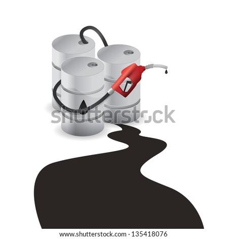 oil barrel spill illustration design over a white background - stock photo