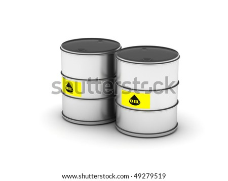 Oil barrel. Two barrel isolated on white background. High quality 3d render.