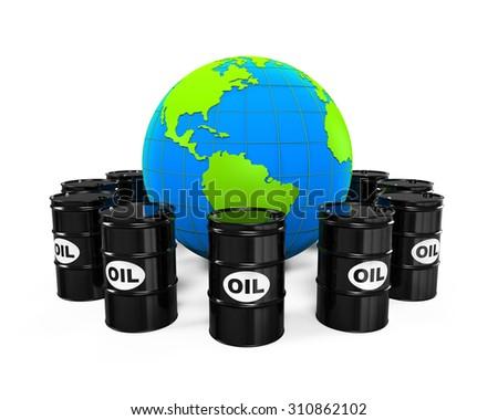 Oil Barrels and Earth Globe - stock photo