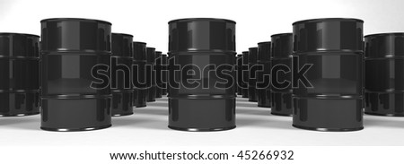 Oil Barrels background - 3d - stock photo