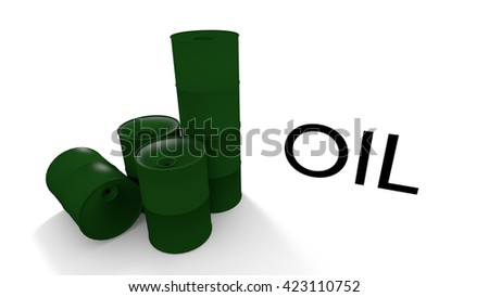 oil barrels in a 3d illustration - stock photo