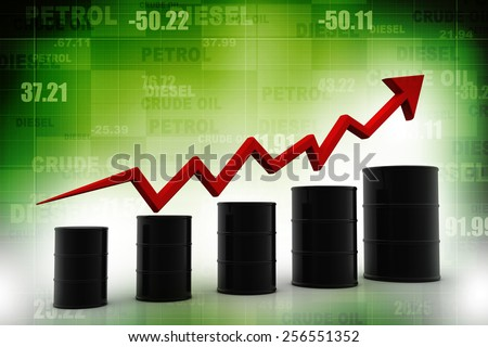 Oil barrels with arrow - stock photo