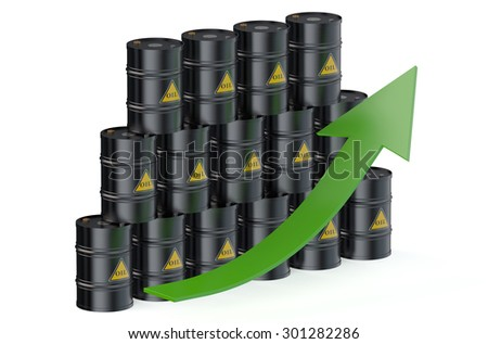 Oil barrels with arrow isolated on white background - stock photo
