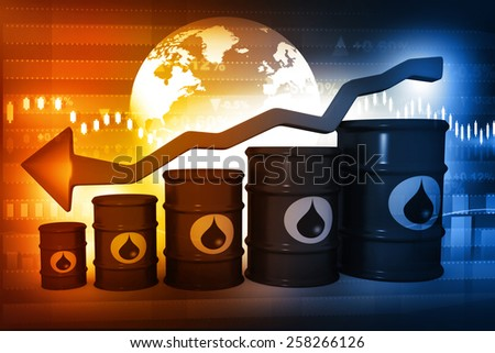 Oil Barrels with falling oil price graph - stock photo