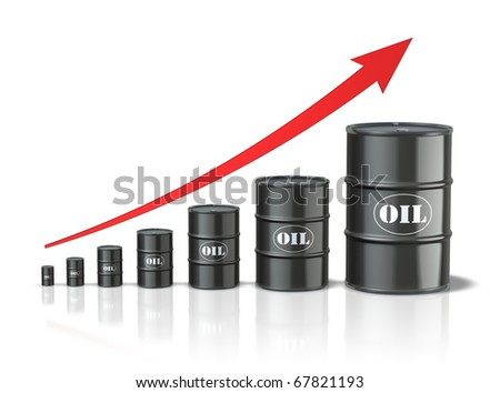 Oil barrels with increasing arrow - stock photo