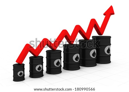 Oil barrels with increasing arrow. Increasing oil price.  - stock photo