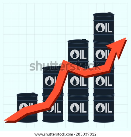 Oil barrels with price graph - stock photo