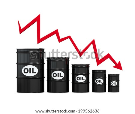 Oil Barrels with Red Arrow - stock photo
