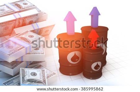 Oil barrels with stack of dollars - stock photo