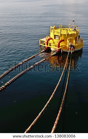 oil-carrier in port for loading - stock photo