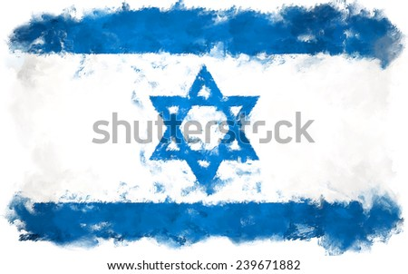 oil color israel flag  - stock photo