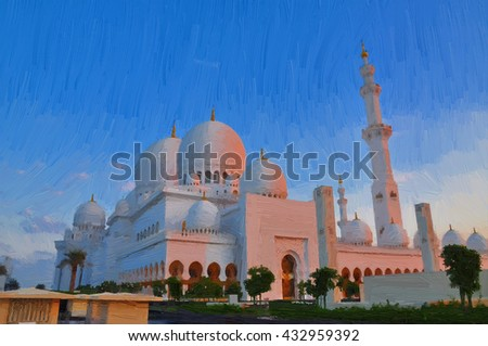 Oil color painting of Abu Dhabi Mosque in Evening