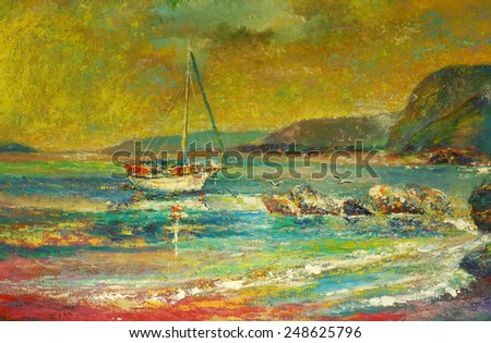Oil color painting of Boat and the sea on canvas in thailand.