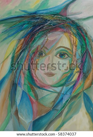 Oil colors painting picture - stock photo