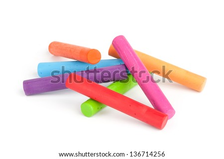 Oil crayons isolated on white - stock photo