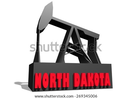 oil derrick model with north dakota state name - stock photo