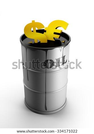 oil. dollar euro - stock photo