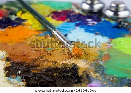oil drawing board with pen - stock photo