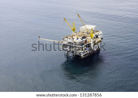 Oil Drilling Platform Aerial View - stock photo