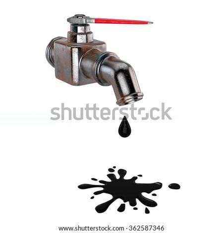 Oil drop on white background - stock photo
