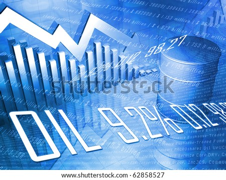 Oil Drum with Downward Pointing Stock Arrow in Blue - stock photo