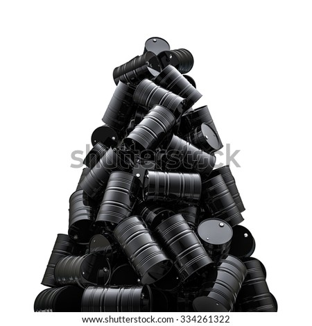 Oil drums peak / 3D render of black oil drums - stock photo