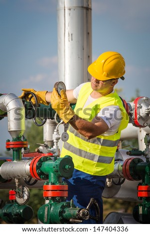 Oil engineer - stock photo