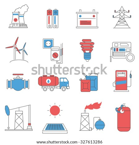 Oil extracting storage and fuel distribution power and energy systems pictograms collection line abstract isolated  illustration - stock photo