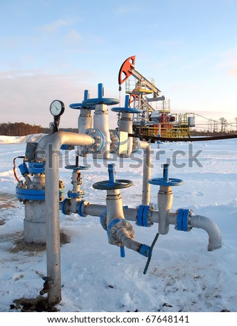 Oil extraction. Oil industry. Construction and mechanism in work. - stock photo