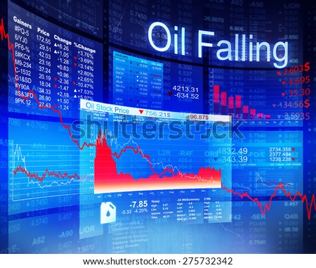 Oil Falling Economic Global Business Investment Concept - stock photo