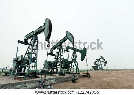 Oil field - stock photo