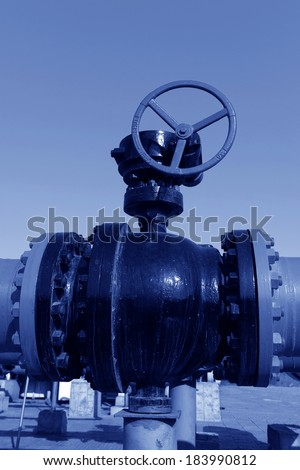Oil field in the pipes and valves