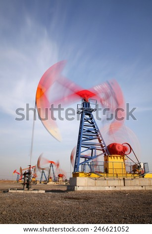 Oil field, oil pump in the work