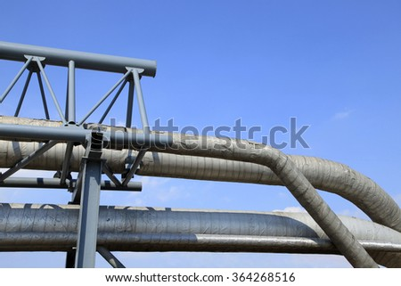Oil field scene, oil pipelines and facilities