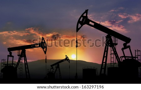 oil field with pump jack , oil industry - stock photo