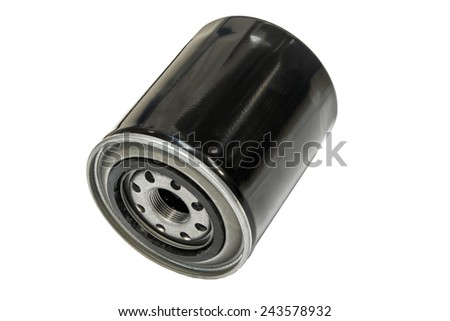 Oil filter cleaning internal combustion engine on a white background - stock photo