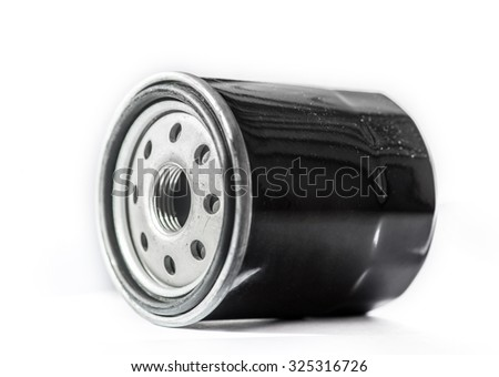 Oil filter cleaning internal combustion engine on a white background
