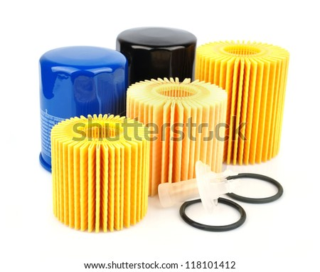 Oil Filter isolated on White Background - stock photo