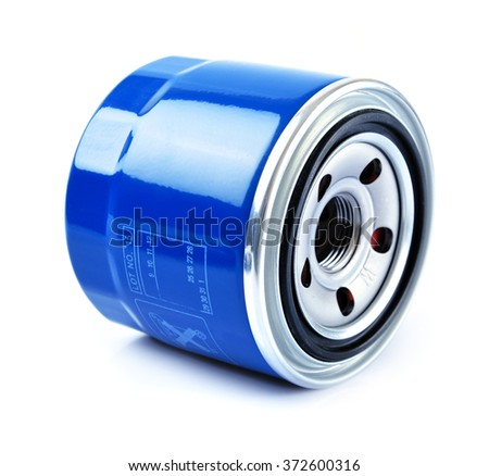 Oil Filter isolated on White Background.Automobi le spare part
