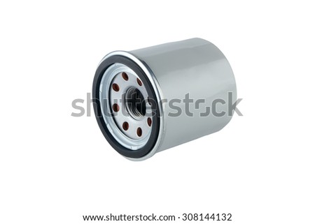 Oil Filter isolated on White Background.Automobile spare part. - stock photo