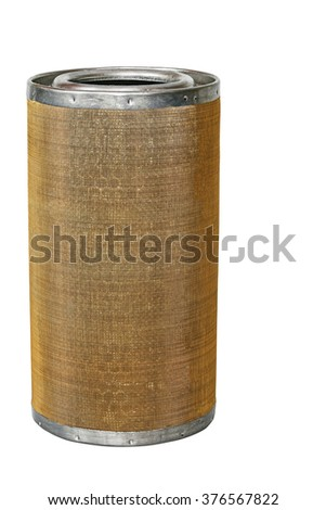 Oil filter isolated on white background/Oil filter for the fine filtration of engine oil - stock photo