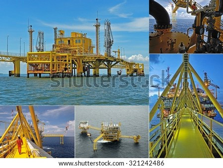 Oil gas industry collage - stock photo