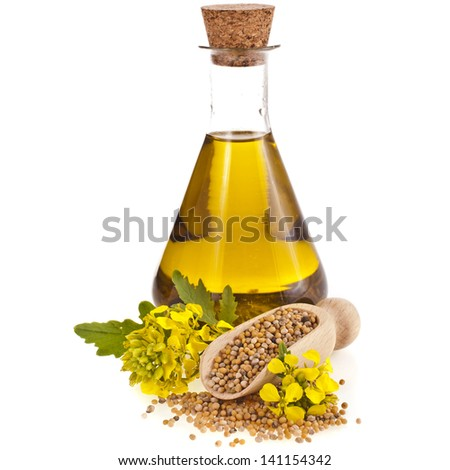 oil glass jar , seeds,and mustard flower blossom isolated on white background - stock photo