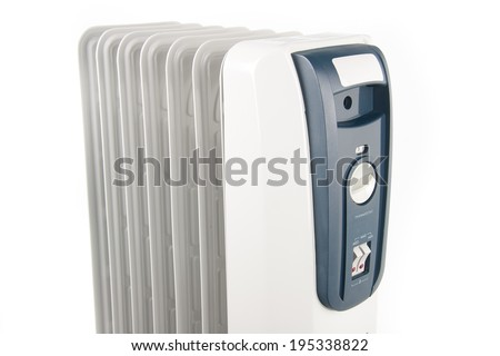 Oil heater isolated on white background - stock photo
