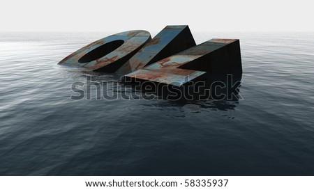 oil in the sea - stock photo