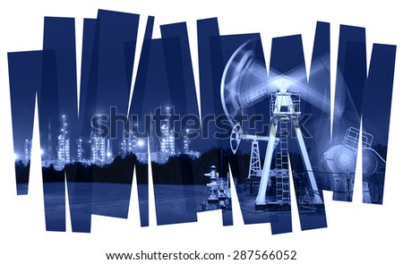 Oil industry abstract  background. Oil and gas industry. Photo collage toned blue. Isolate on a white. - stock photo