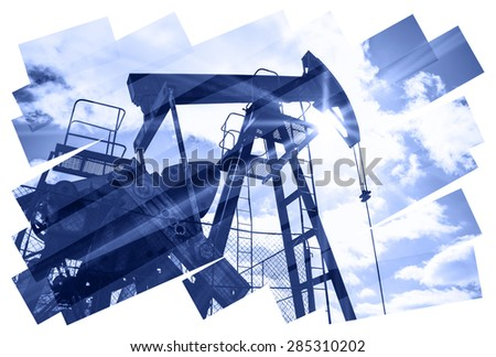 Oil industry abstract composition background. Oil and gas industry. Photo collage toned blue. Isolate on a white.