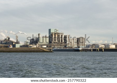 oil industry in the harbor of rotterdam netherlands - stock photo