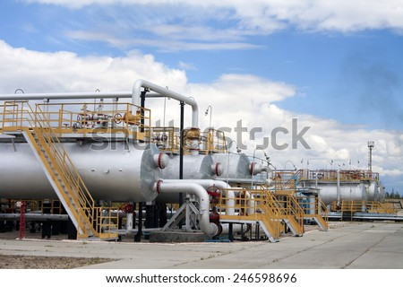 Oil industry. Oil and gas refinery plant. Industrial scene of oil extraction - stock photo