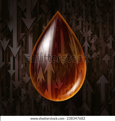 Oil industry volatility business symbol as prices drop or rise concept as a drop of fuel gas or crude petroleum with arrows for declining or rising fluctuations in the price of a barrel. - stock photo